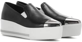 Miu Miu Leather slip-on platform sneakers