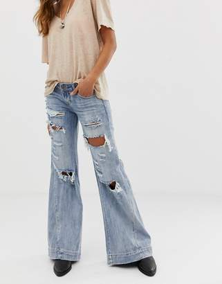 One Teaspoon Bluehearts wide leg destroyed jeans