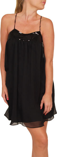 Chiffon Flowy Crossback Black Dress