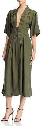 Divine Heritage Laced-Up Midi Dress