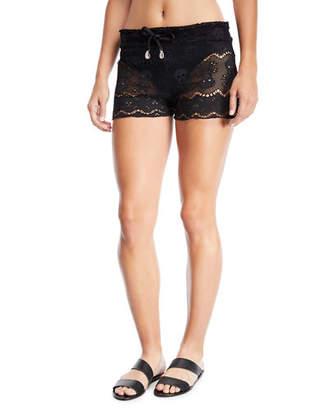 Letarte Skull-Lace Coverup Shorts