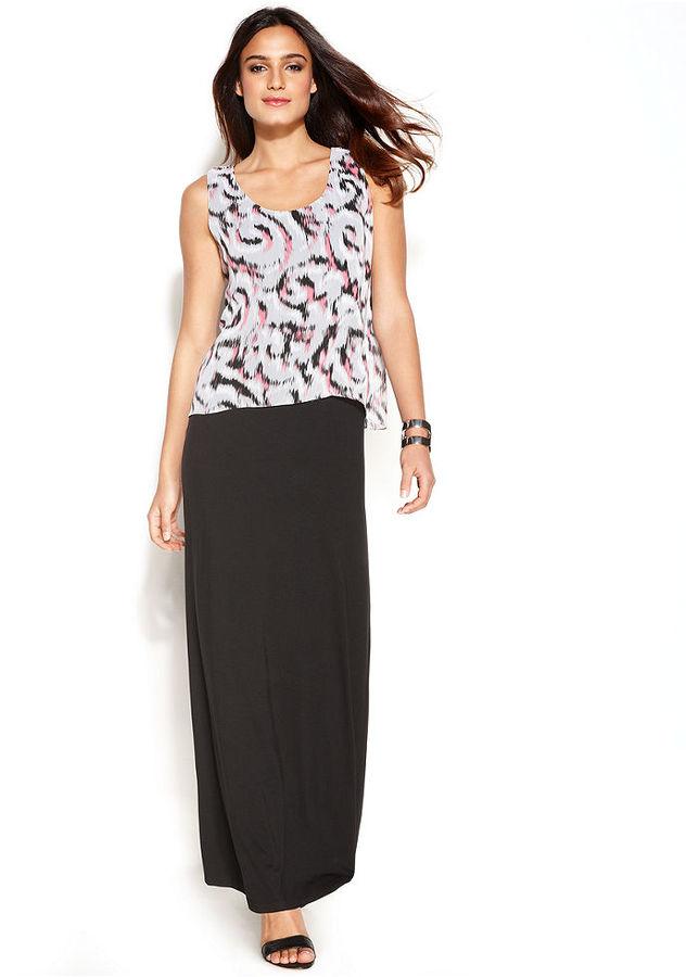 Alfani Sleeveless Printed Overlay Maxi Dress