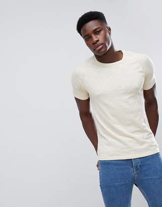 Selected T-Shirt with Raglan Sleeve in Slub Cotton