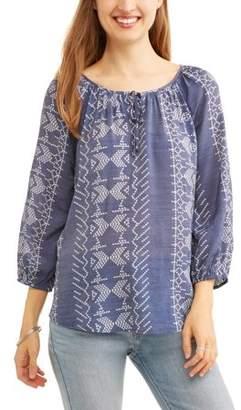 Como Blu Women's Printed Peasant Blouse