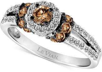 LeVian Le Vian Chocolatier Diamond Halo Ring (3/4 ct. t.w.) in 14k White Gold
