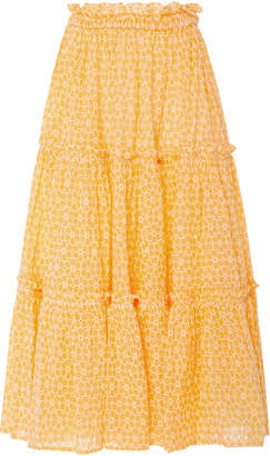Lisa Marie Fernandez Ruffled Broderie-Anglaise Maxi Skirt