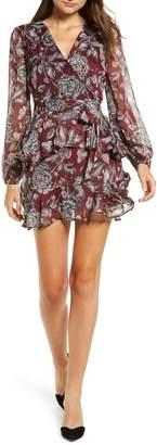 Love, Fire Tiered Wrap Dress