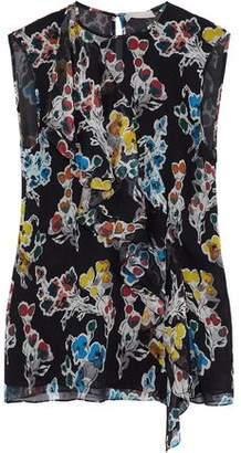 Jason Wu Ruffled Floral-Print Crinkled Silk-Georgette Top