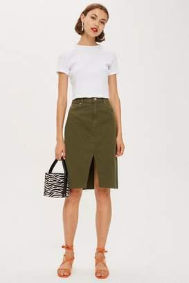 Topshop Khaki Denim Midi Skirt