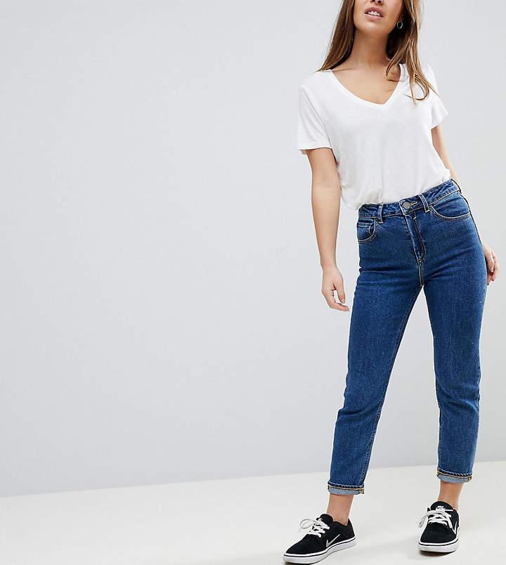 – FARLEIGH – Schmale Mom-Jeans mit hoher Taille in verwaschenem Marli-Tiefblau