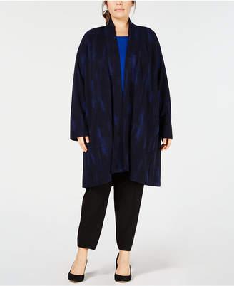 Eileen Fisher Plus Size Open-Front Printed Kimono Jacket