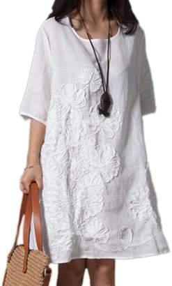 Zilcremo Women Short Sleeve Embroider Casual Cotton Linen Swing Tunic Dress Plus Size Darkblue XL
