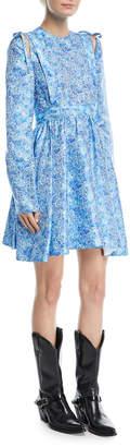 Calvin Klein Cold-Shoulder with Bow Floral-Jacquard Cocktail Dress