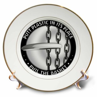 3dRose Phil The Basket 2 frisbee disc golf putter thrown into the chains of a basket, Porcelain Plate, 8-inch