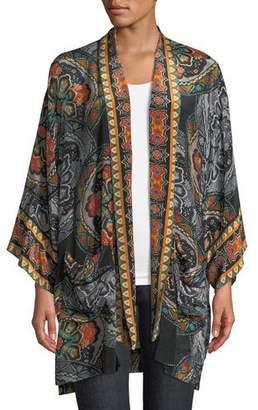 Tolani Kayla Medallion-Print Kimono Jacket w/ Pockets