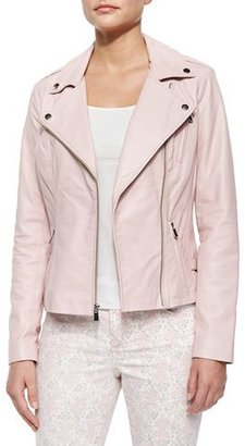 Neiman Marcus Motorcycle Zip-Front Leather Jacket $395 thestylecure.com