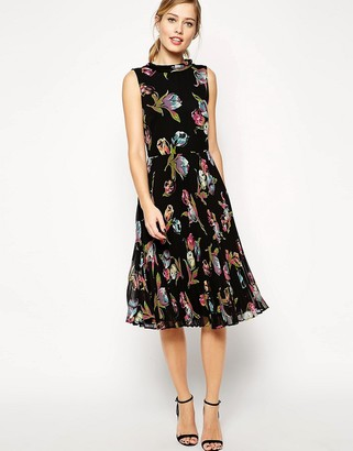ASOS Midi Dress with Pleated Skirt and Funnel Neck in Tulip Print $77 thestylecure.com