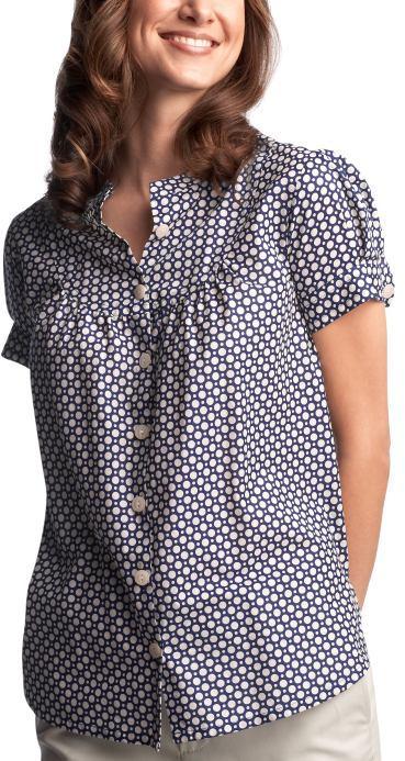 Circle-print bib-front shirt