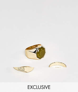 Asos Designb London DesignB Signet & Band Rings In 3 Pack Exclusive To