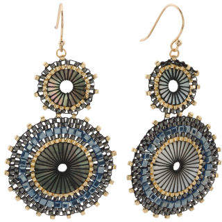 Beaded Double Disc Earrings
