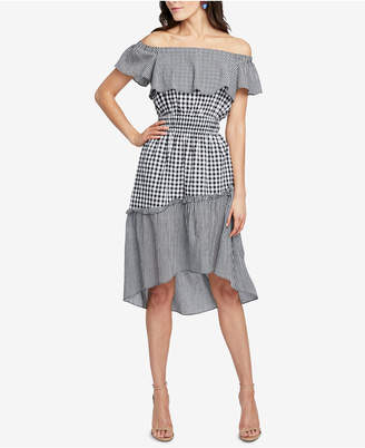 Rachel Roy Ava Off-The-Shoulder Gingham High-Low Dress, Created for Macy's