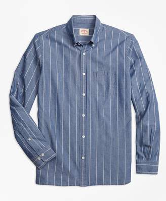 Brooks Brothers Chambray Thin-Stripe Sport Shirt