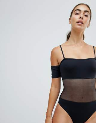 Twiin Black Mesh Cut Out Swimsuit