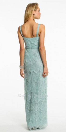 Mignon Sweetheart Ruched Lace Detail Long Evening Dress