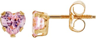Swarovski Charming Girl 14k Gold Heart Stud Earrings - Made with Zirconia - Kids