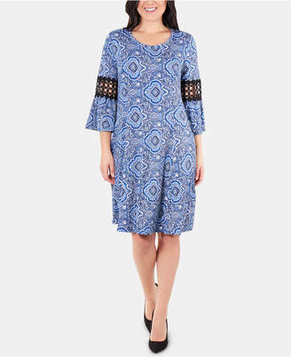 NY Collection Printed Crochet-Trim Shift-Dress