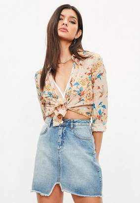 Missguided Beige Floral Silky Shirt