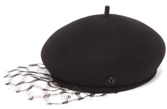 Maison Michel New Bonnie Lace Veil Felt Beret - Womens - Black
