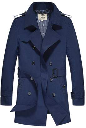 E-artist Men's Trench Coat Long Double Breasted Overcoat F07 Blue XX-Large