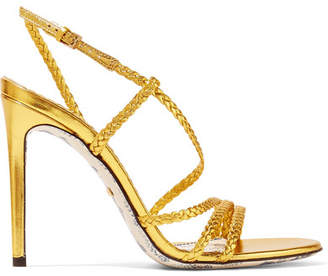 Gucci Haines Braided Metallic Leather Slingback Sandals - Gold
