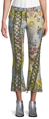 Marques Almeida Cropped Floral Lace-Up Pants