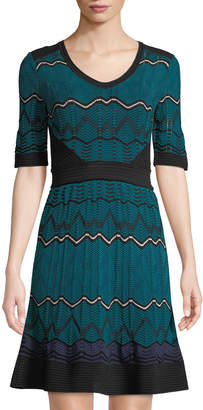 M Missoni Chevron-Striped Short-Sleeve Midi Dress, Blue