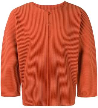 Issey Miyake Homme Plissé pleated buttoned T-shirt