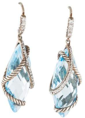 David Yurman Topaz & Diamond Cable Wrap Drop Earrings
