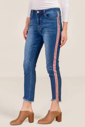 francesca's Jenna High Rise Side Stripe Skinny Jeans - Medium Wash