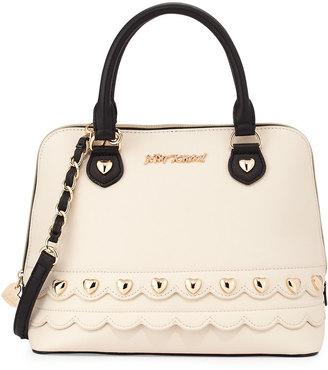 Betsey Johnson Wavy Days Dome Satchel Bag, Cream/Black $90 thestylecure.com