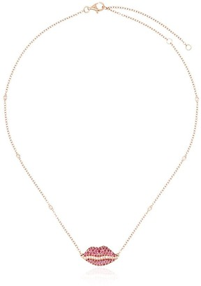 Shay 18kt yellow gold diamond lips necklace