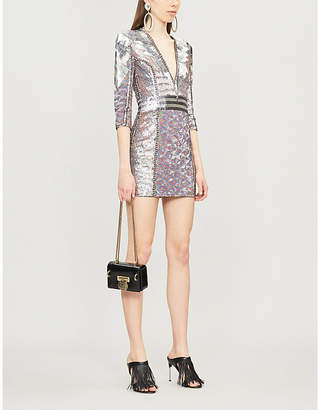 Balmain V-neck sequinned mini dress