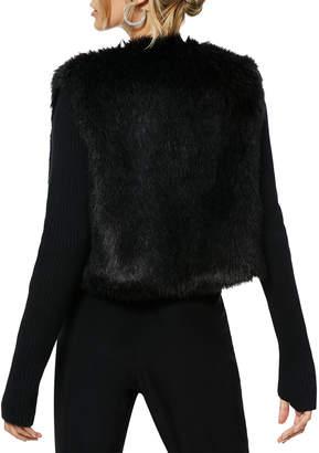 Ramy Brook Abel Chevron-Stripe Faux-Fur & Wool Jacket