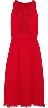 Elie Tahari Amina Crochet-Paneled Stretch-Jersey Dress