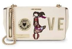 Love Moschino Embroidered Patch Faux Leather Crossbody Bag
