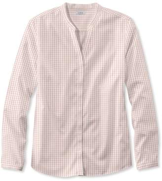 L.L. Bean L.L.Bean Wrinkle-Free Pinpoint Oxford Shirt, Long-Sleeve Splitneck Gingham