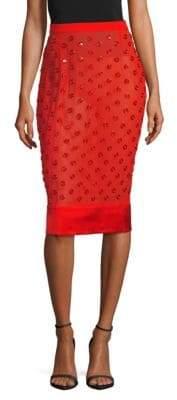 Givenchy Grommet Silk Knee-Length Skirt
