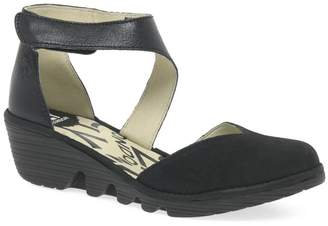 Fly London Black Leather Pats Mid Heel Wedge Sandals