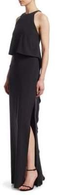 Halston Popover Long Ruffle Dress
