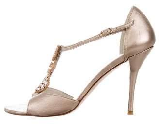 Stuart Weitzman Crystal-Embellished Metallic Sandals